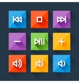 set media player buttons in flat design style vector image vector image