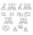 set of talking outline of chat icons vector image