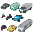 set of transportation and vehicle vector image vector image