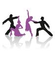 silhouettes couple dancing ballroom dance vector image vector image