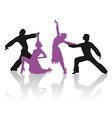 Silhouettes of couple dancing ballroom dance vector image