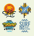 surfing style surf summer time beach life hand vector image vector image