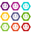 suspicious emoticon set color hexahedron vector image vector image