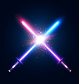 two crossed light neon swords fight vector image vector image