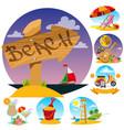 wooden pointer lifeguard tower beach umbrella and vector image vector image