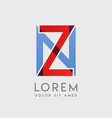 zn logo letters with blue and red gradation vector image vector image