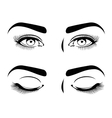 Close and open eyes of beautiful woman long vector image