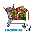 Full shopping cart with food and drinks vector image