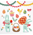 Happy Easter Set of Elements - Rabbits Eggs Chicks vector image