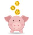 Cute Piggy Bank With Gold Coin Saving Money vector image