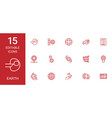 15 earth icons vector image vector image