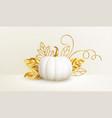 3d realistic white golden pumpkin with golden vector image vector image