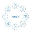 8 grey icons vector image vector image