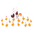 animal chicken rooster and yellow little chicks vector image vector image