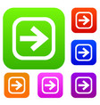 arrow in square set collection vector image vector image