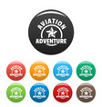 aviation adventure icons set color vector image