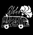 black and white aloha hawaii surf print handdrawn vector image