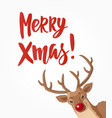 christmas card with merry xmas text and head of vector image vector image