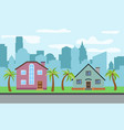 city with two two-story cartoon houses vector image vector image