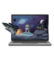 computer with space scene vector image vector image