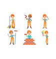 cute kids construction workers set boys and girls vector image vector image
