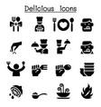 delicious food icon set vector image vector image