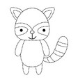 dotted shape cute and happy raccoon wild animal vector image vector image