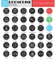 e-commerce circle white black icon set vector image