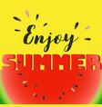 enjoy summer lettering on watermelon sliced vector image