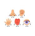 five human senses organs kawaii characters set vector image vector image