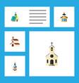 flat icon building set of religion catholic