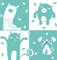 four animal cute symbol vector image