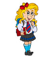 girl in school uniform vector image