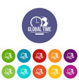 global time icons set color vector image vector image