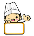 happy chef character is holding a board isolated vector image vector image