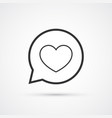 heart in speech buuble flat line trendy black vector image