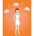 housewife thinking out what to cook vector image vector image