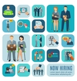 Human resources hiring flat icons set vector image