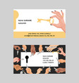 key business card hand holding house keys vector image vector image