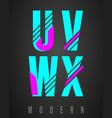 letter font modern design set of letters u v w vector image