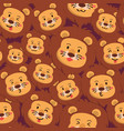 lion seamless pattern full face expression vector image
