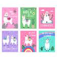 llama cute poster alpaca greeting cards vector image