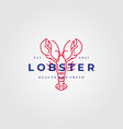 lobster logo vintage line art label design vector image