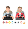 man and woman driving a car silhouette of a woman vector image vector image