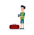 man with international passport in hands luggage vector image