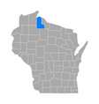 map ashland in wisconsin vector image vector image
