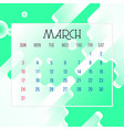 march 2019 calendar leaf vector image vector image