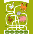 maze game for children rabbit duck pig goose and vector image vector image
