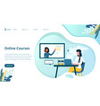 online courses concept with woman on laptop vector image