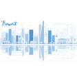 Outline Kuwait City Skyline with Blue Buildings vector image vector image